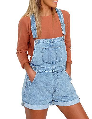 Vetinee Women's Light Blue Classic Adjustable Straps Cuffed Hem Denim Bib Overall Shorts X-Large