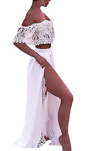 Mujer Faldas Largas+Crop Top Dos Piezas Elegante Verano Barco Cuello Manga Corta Joven Fashionista con Abertura Casuales Playa Blanco Falda Set Señora Moda Fiesta
