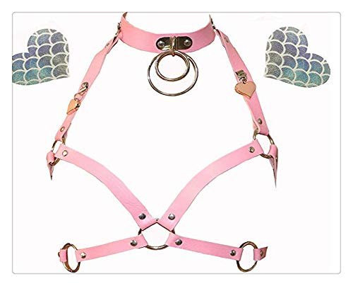 Z-one 1 Arn¨¦s de cuero de imitaci¨®n ajustable para mujer mini lindo Punk Garter Harajuku Belt Lingerie (Rosa)