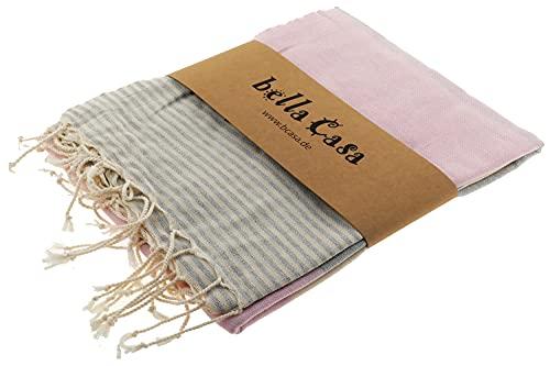 Bella Casa Apollonia - Toalla de sauna Pestemal Fouta, toalla de playa de algodón, 100 x 180 cm, color rosa y gris