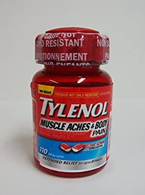 TYLENOL MUSCLE ACHES & BODY PAIN 650 mg 110 Caplets Relief of Muscle Aches, Body Pain, Joint Pain Relief of Pain from Menstrual Cramps and Headaches Gentle on the Stomach Fast Extended Relief that Lasts up to 8 hours
