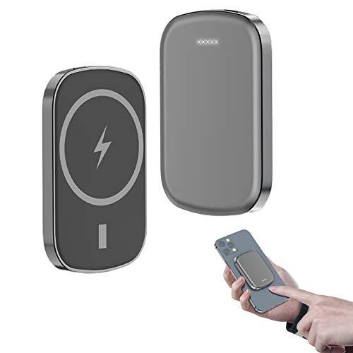 Cargador InaláMbrico Magnetic Power Bank 10000Mah Compatible Con Iphone 12/Pro/Pro Max/Mini, BateríA Externa PortáTil De Carga RáPida Qi De 15W, Power Bank Magnetic PortáTil InaláMbrico Mag-Safe(Gris)