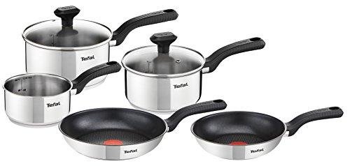 Tefal C972S544 Batería de Cocina, Acero Inoxidable, Plateado, 5 Piezas