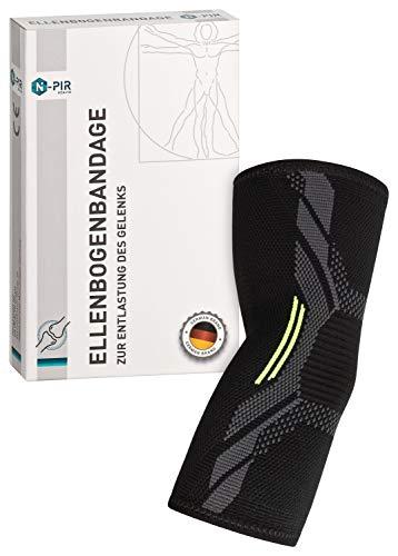 N-PIR PREMIUM ELLENBOGEN-BANDAGE I Verbessertes Konzept 2020 I schnelle Hilfe bei Sehnenscheidenentzündung oder Tennisarm I Gelenkbandage für Sport 2.0 | L