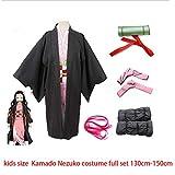 CHANGL KidsDemon Slayer Kimetsu No Yaiba Kamado Nezuko Cosplay Costume Kimono Geta Shoes Headwear Japan Anime Halloween Dress