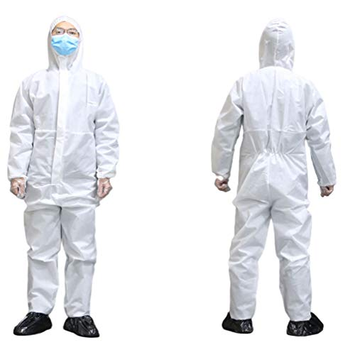 jiejiev Disposable Protection Overall,Protective Clothing Coveralls with Front Zipper Opening and Closing Hospital Supplies (White, XL)