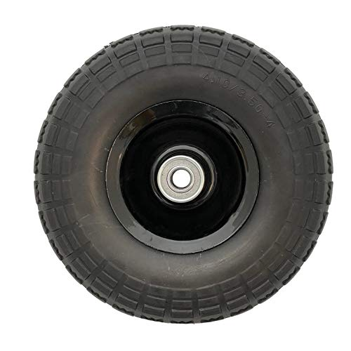 4 pack 10 inch solid (flat free) rubber tire wheels for Garden Wagon snowblower, Lawn Mower Wheelbarrow, Generator, Hand Cart, Wheelbarrow, Hand Cart, Garden Gorilla Cart, Tubeless, 5/8