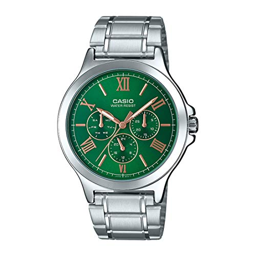 Casio MTP-V300D-3A Men's Standard Stainless Steel Multifunction Green Dial Watch
