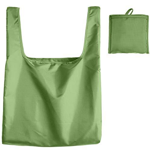 折りたたみエコバッグ 男性 レジ袋型 39×40×14cm 大容量 ショッピングバッグ 男女兼用 無地 (グリーン, M)