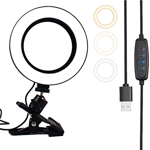 YINGZI 6' Luz de Anillo 2200-5500K Clip Dimmable en el Monitor de Escritorio Silla de Computadora Portátil para la Autoadherente Streaming Live Streaming Makeup (tamaño : 6in/16cm)