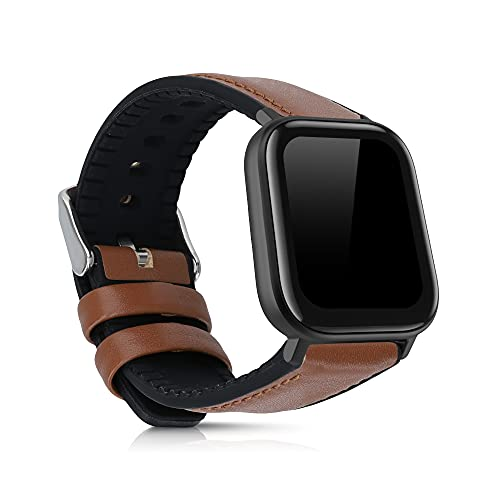 kwmobile Pulsera Compatible con Huami Amazfit GTS/GTS 2 - Correa marrón/Negro de Cuero y Silicona para smartwatch