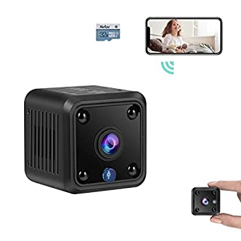 TeamMe Mini Spy Camera WiFi Wireless Hidden Camera HM206 1080P HD Small Home Security Camera with 32G Memory Card Night Vision Motion Detection Rechargeable Tiny Nanny Cam for Indoor Outdoor