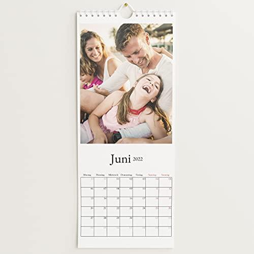 sendmoments Fotokalender 2022, Schönes Jahr, Wandkalender mit persönlichen Bildern, Kalender für Digitale Fotos, Spiralbindung, Hochformat 148x360, optional mit Veredelung