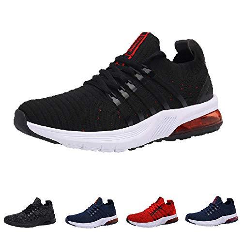 Monrinda Zapatillas de Running Hombre Mujer Air Correr Deportes Calzado Aire Libre Comodos Sneakers Gimnasio Casual Blackred 44EU
