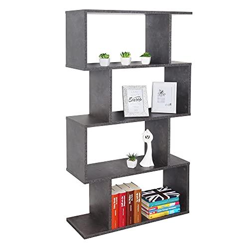RICOO WM071-BG Estantería 129 x 70 x 25 cm Estante Librería Moderna Biblioteca Muebles de hogar Mueble almacenaje 4 Niveles Color Madera Gris