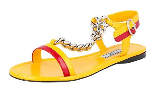 Prada Women's 1X617G G53 F0377 Yellow Leather Sandals US 8.5 / EU 38.5