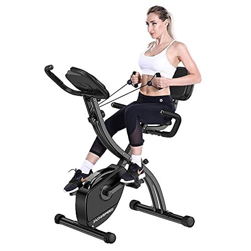 Bicicleta Estaticas,Bicicleta Spinning,Bicicleta Estatica Con Monitor De Frecuencia Cardíaca / Plegable / Resistencia ajustable/ Asiento Ajustable Para Uso En El Hogar y El Gimnasio (Respaldo plegable