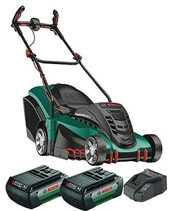 Foto di Bosch Home and Garden 06008A450D Rotak 430 LI Rasaerba a 2 Batterie, 78.5 x 40.7 x 48.8 cm, Cesto 50L, 36 V, Verde, Taglio 43 cm/2-7 cm, 1 Pezzo