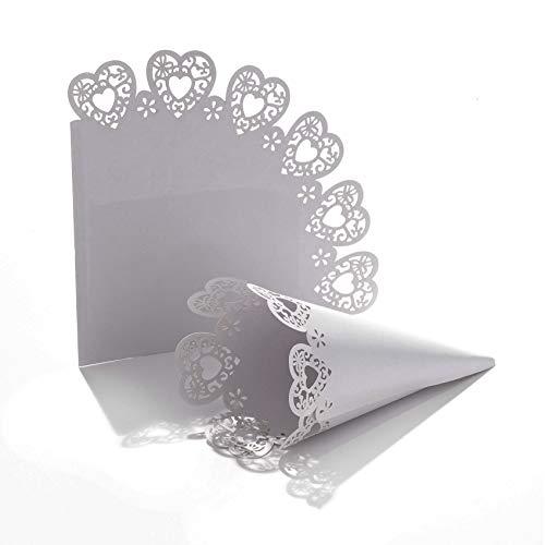 C.X.Y. 100pz Cono Coni Fai da Te Portaconfetti Portariso Chiusura Veloce con Biadesivo Cartoncino Perlato Bordo Laser