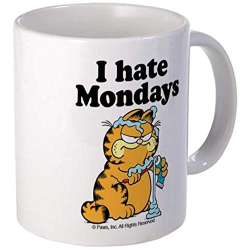 Garfield Die Katze, die Zähne putzt Ich hasse montags Kaffeetasse - Weißes Geschenk für Ehemann Ehefrau Mutter Vater Kollege Freunde am Abschlusstag Weihnachtstag Saint Patrick's Day