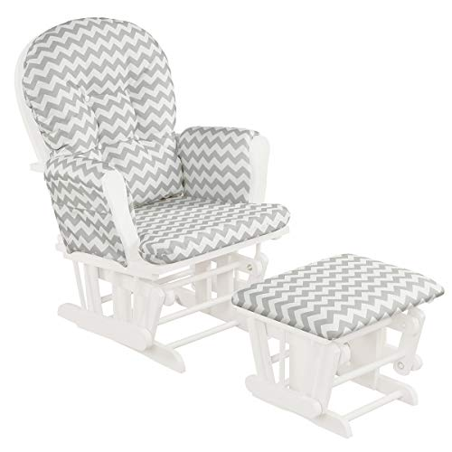 Costzon Baby Glider and Ottoman Cushion Set, Wood Baby Rocker Nursery Furniture, Upholstered Comfort Nursery Chair & Ottoman with Padded Arms (Gray and White) (Sleigh Rocker)