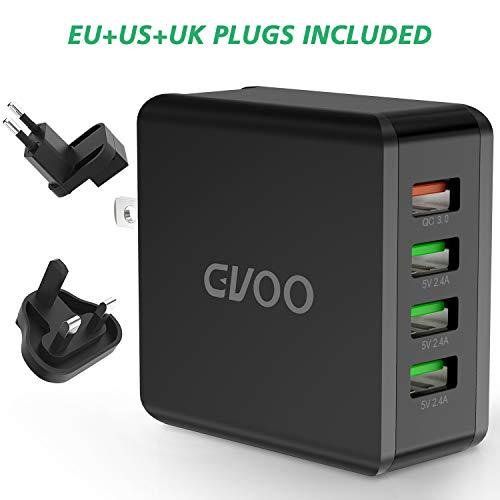 Gvoo QC 3.0 USB Ladegerät 4-Ports 40W/5V 8A Schnellladegerät,Universal 3 Anschlüsse US/EU/UK Multi-Stecker USB Charge Handys,Smartphones,Navis,Tablets UVM.