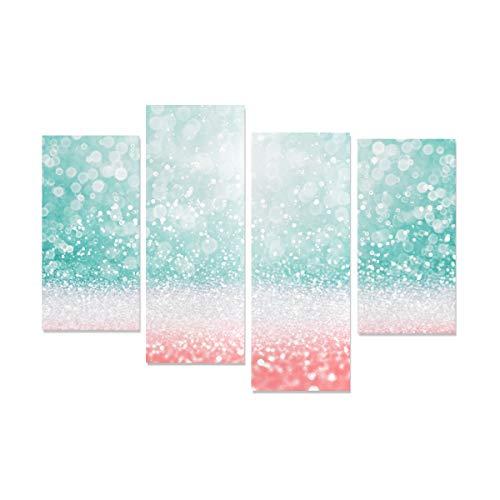 WDDHOME 4 Stücke Wandfarbe Leinwand Abstrakte Teal Green Glitter Coral Rosa Flur Decor Für Wände Kein Rahmen Wohnzimmer Büro Hotel Wohnkultur Geschenk