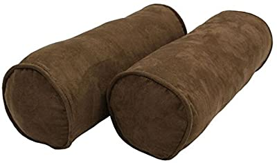 """Blazing Needles Double-Corded Solid Microsuede Bolster Pillow Set with Inserts (Set of 2), 20"""" by 8"""", Chocolate"""