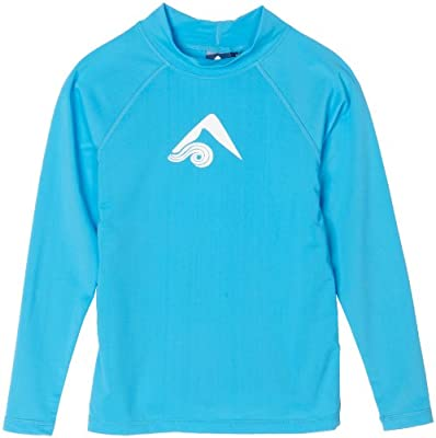 Kanu Surf Big Boys' Platinum Long Sleeve Rashguard, Aqua, X-Small (6)