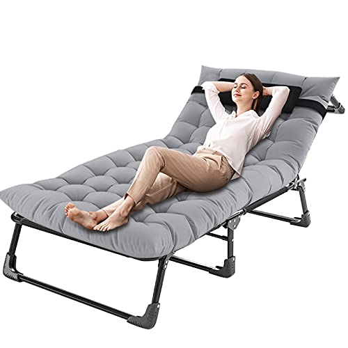 FICISOG Reclining Patio Chairs,Outdoor Patio Folding Lounge Chair for Sun Tanning,Adjustable 4-Position Portable Folding Chaise Camping Cot For Adult,Perfect Chair for Pool/Beach/Patio/Lawn/Sunbathing
