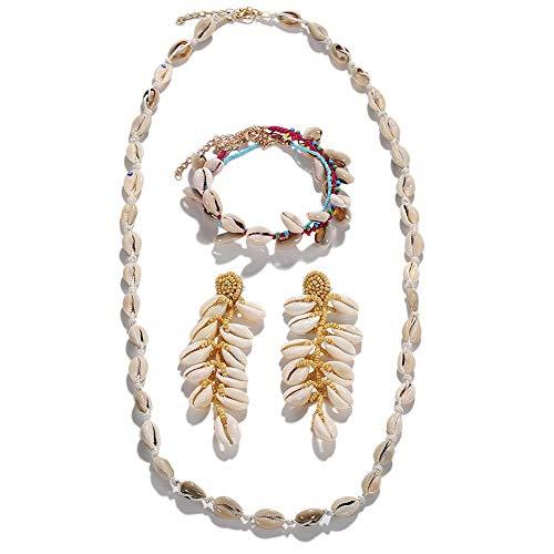 Fransande Conjunto de joyería de concha ajustable de Bohemia tejida a mano con cuentas colgantes, pendientes, collar y pulsera