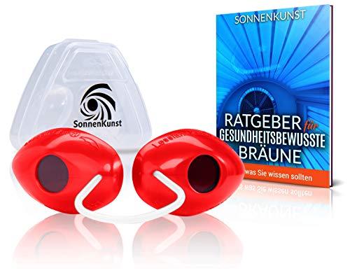 Premium Solarium Schutzbrille - Verbessertes Konzept [2021] - inkl. E-Book und Aufbewahrungsbox - hochwertige UV Schutzbrille für Sonnenbaden geprüft gemäß EN170