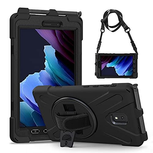 Gerutek Hülle Samsung Galaxy Tab Active 3 T570/T575/T575N, Stoßfeste Robust Panzerhülle mit Stifthalter, Drehbar Stände, Handschlaufe, Schultergurt & Schutzhülle für Samsung Tab Active 3 8