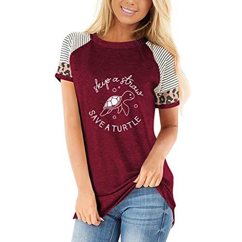 NPSJYQ Camiseta De Manga Corta, Blusa Moda Suelta Cuello Redondo CóModo Estampado De Leopardo Nuevos Tops Diarios Ropa Deportiva De Manga Corta Camisa Casual De Verano