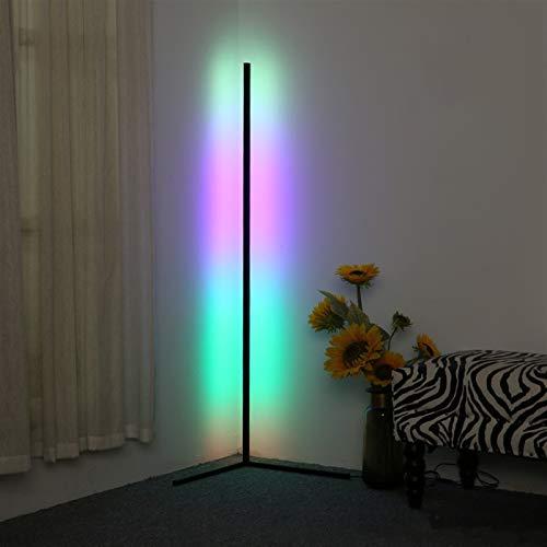 YXIAOJ Lámpara de pie de Esquina LED RGB Cambio de Color Luz de Piso de pie, Controlador Remoto Regulable, decoración Minimalista para la Sala de Estar de la Sala de Estar Lectura
