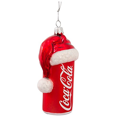 Coca-Cola Kurt Adler 4-1/2-Inch Glass Can with Santa Hat Ornament