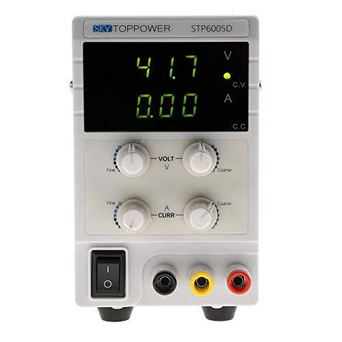 Akozon Fuente de alimentación DC regulada, 3 LED de alta precisión Fuentes de alimentación de laboratorio DC regulada variable 300W 0-60V 0-5A 110 / 220V