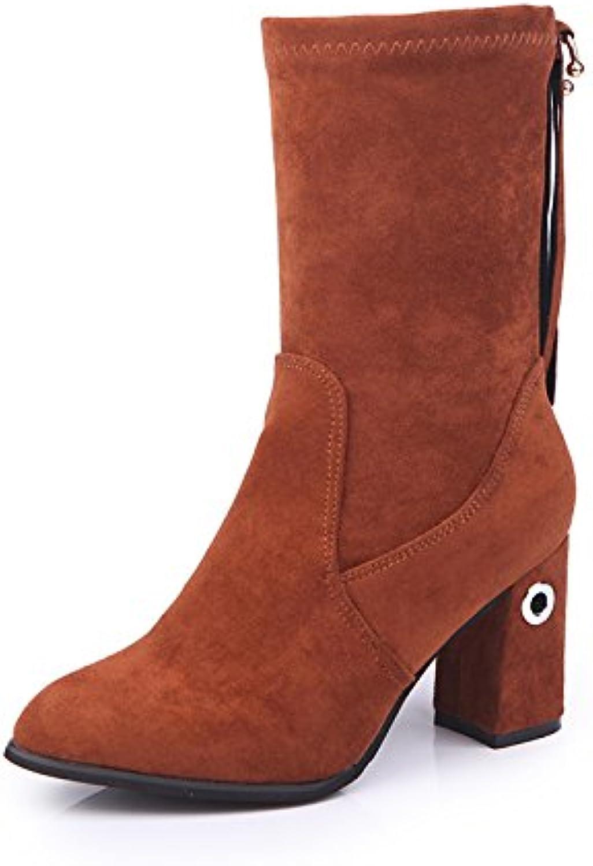 AGECC Damen Damen Winter Herbst Einzelne Schuhe Mode Stiefel Blau Lssig Tuch High Heel Ferse Spitz Zylinder Stiefel Glück für Sie