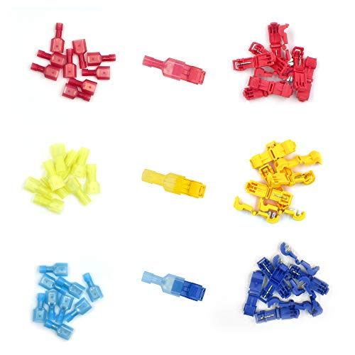 (60 Pcs) MCIGICM T-Tap Wire Connectors, T Tap Electrical Connectors, Quick Wire Splice Taps and Insulated Male Quick Disconnect Terminals