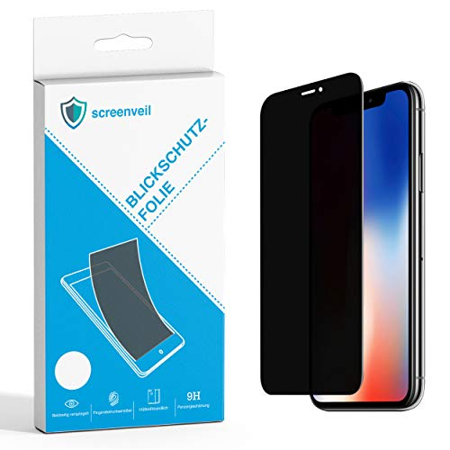 Screenveil - Premium Panzerglas Blickschutzfolie kompatibel mit iPhone 6/6s/7/8 Privacy Filter Sichtschutzfolie 9H Härtung Anti-Spy Folie Privacy Screen