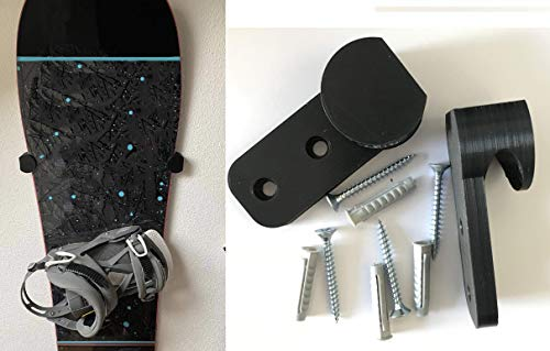 Snowboardhalterung Snowboardhalter Wand Senkrecht Wandhalterung Schwarz für Snowboard Halterung Wandmontage Wandhalter Halter ein Paar 2 Stück inkl. Schrauben und Dübel Eishockey Schläger Halterung