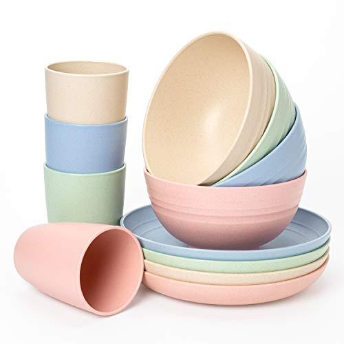 Euodia Juego de vajilla de plástico con paja de trigo para 4 platos (platos, cuencos y tazas) – Apto para lavavajillas y microondas – irrompible, reutilizable, ligero, respetuoso con el medio ambiente y libre de BPA – niños pequeños y adultos mayores