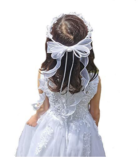 LadyMYP© Haarkranz/Haarschmuck/Kopfschmuck/Haarbänder mit vielen Blüten und Perlen, Hochzeit, Kommunion, Blumenkind (Weiß)