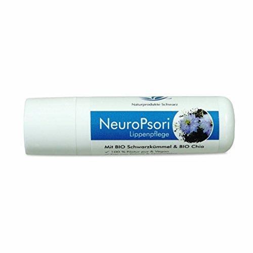Naturprodukte Schwarz - NeuroPsori Lippenpflege mit BIO Schwarzkümmel & BIO Chia - Vegan, parfümfrei, ohne Mineralöl - 4,8g