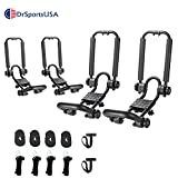 DrSportsUSA Fold Down J Bar Kayak Rack Designed mounts to virtually All crossbars and Load Bars Double Folding J Bar Car Roof Carrier for Kayak Canoe Surf Board and SUP Paddle Boat (2Pair)
