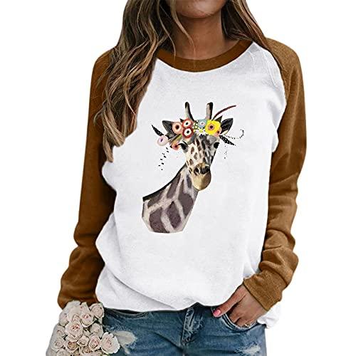 Pianshanzi Sudadera de mujer con capucha y cuello redondo, manga larga, estampado de jirafa, a rayas, sudadera de manga larga, informal, sudadera, blusa para mujer, F caqui., M