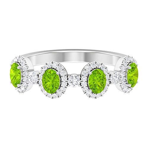 1 CT creado en laboratorio de kryptonita anillo con banda de diamante, anillo halo, alianza de boda (6x3 mm de corte ovalado creado en laboratorio de kryptonita), 14K Oro blanco, Size:EU 54