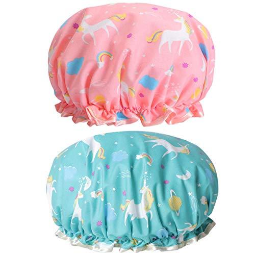 Scopri offerta per Cuffia da doccia a forma di unicorno, riutilizzabile, impermeabile, doppio strato per le donne protezione dei capelli EVA plastica pizzo elastico fascia cappello ambientale