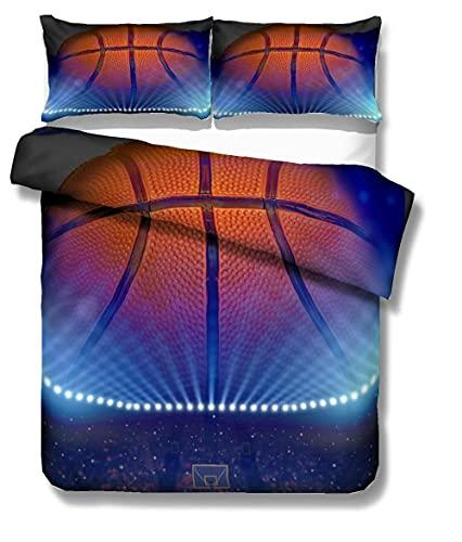 BZCBX Juego de sábanas cómodas y Suaves Juego de Ropa de Cama con,100% poliéster, antialérgico, Anti decoloración, Baloncesto de la NBA impresión HD para Todo el Mundo 260x240 cm