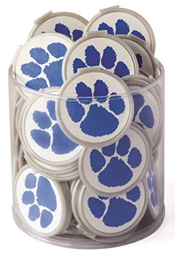 MASCOT PAW PRINT SCHOOL SPIRIT BULK BOOKMARKS - BLUE Clip over the Page 75 pack - Bulk Bookmarks for kids girls boys. Perfect Student Incentives Prizes Party Favors Classroom rewards & Reading awards!